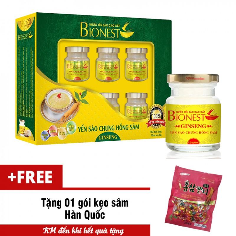 Hộp yến sào cao cấp BioNest Ginseng 6 hủ tặng 1 bịch kẹo sâm