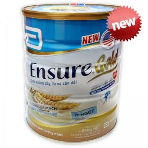 Sữa Ensure Gold ít ngọt hương lúa mạch 850g